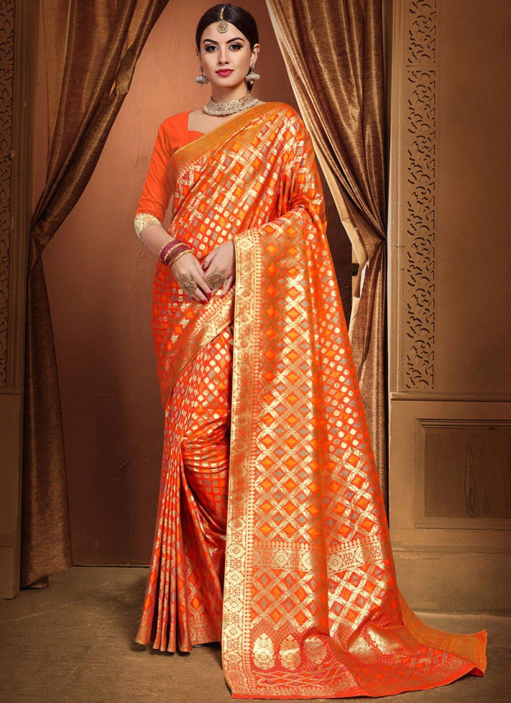 Weaving Orange Traditional Designer Saree