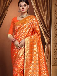 Weaving Orange Traditional Designer Saree