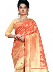 Weaving Peach Art Silk Traditional Designer Saree