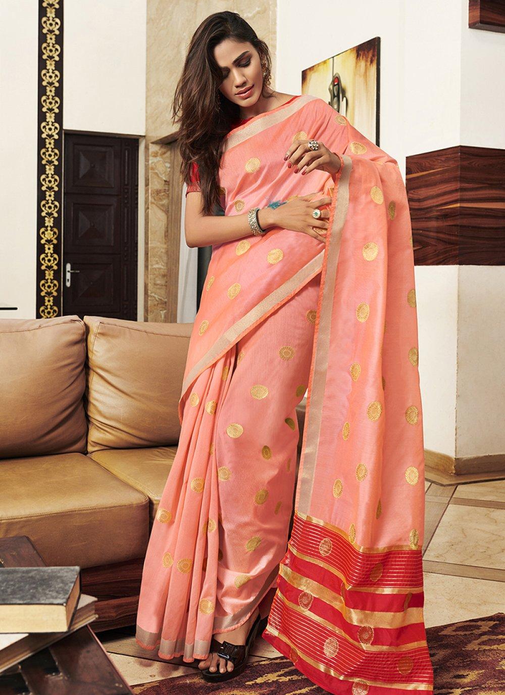 Weaving Peach Designer Saree
