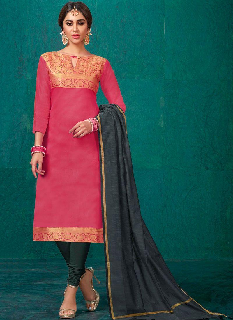 Weaving Pink Churidar Suit