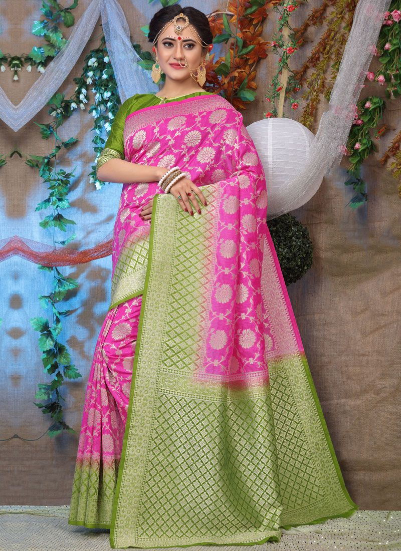 Weaving Pink Fancy Fabric Traditional Designer Saree