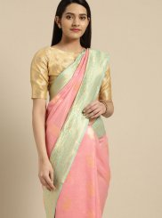Weaving Pink Silk Saree