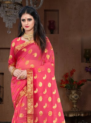 Weaving Pure Chiffon Designer Traditional Saree in Pink and Red