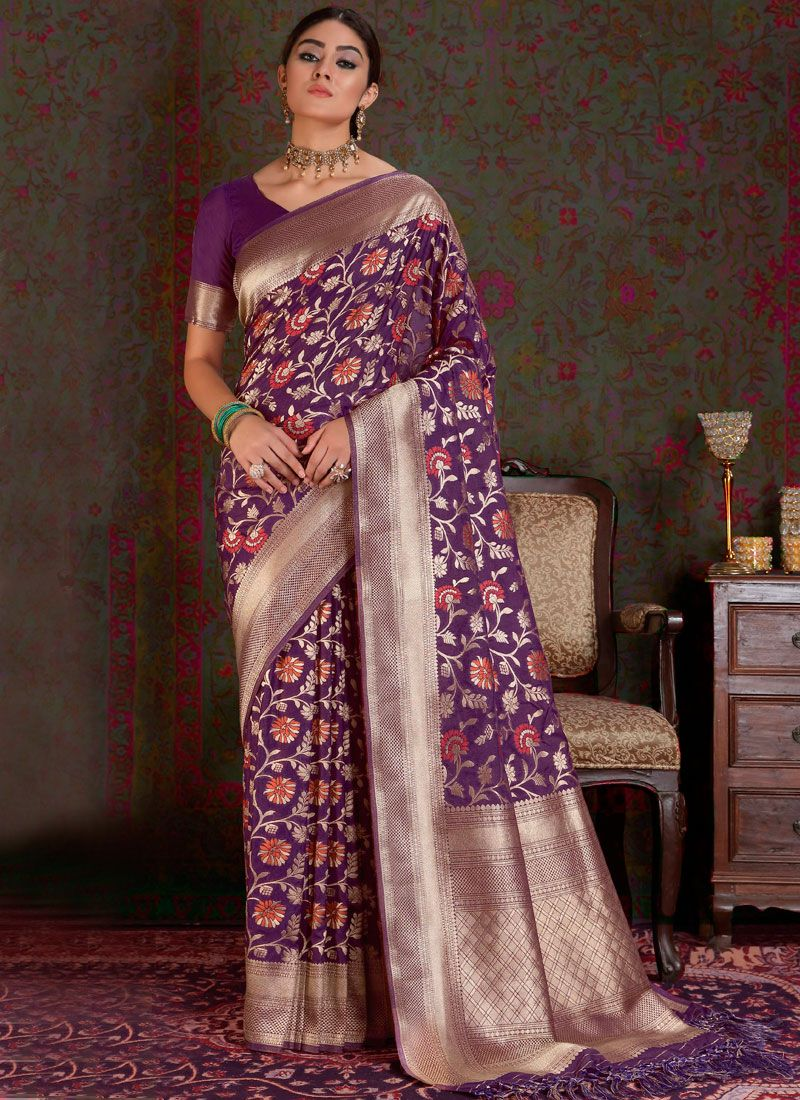 Weaving Purple Art Silk Designer Traditional Saree
