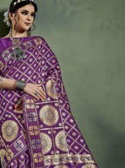 Weaving Purple Designer Traditional Saree