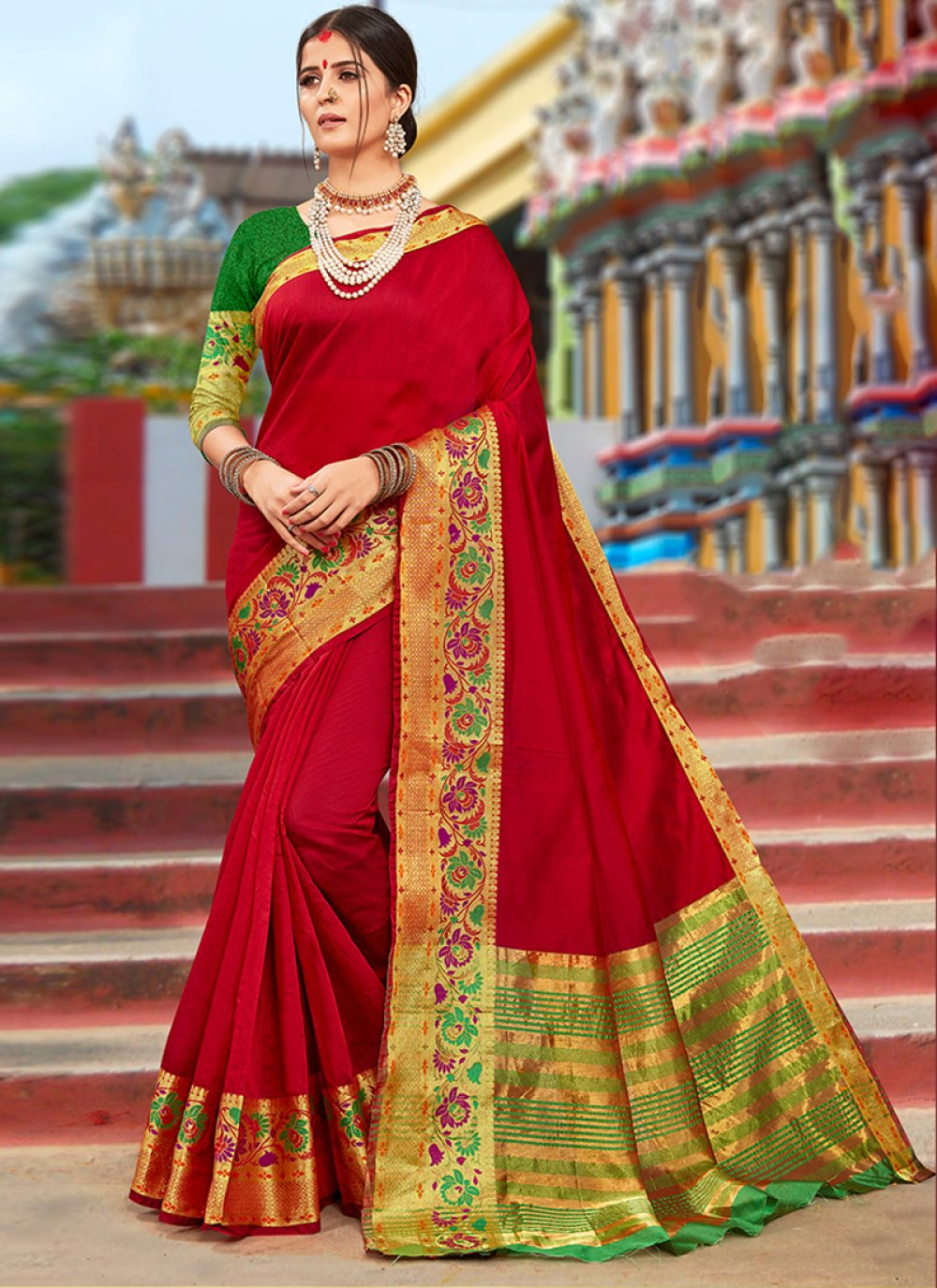 Weaving Red Art Silk Cotton Designer Traditional Saree