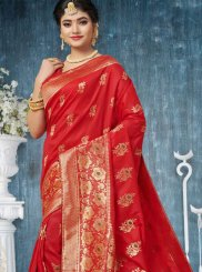 Weaving Red Art Silk Designer Traditional Saree