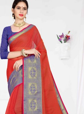 Weaving Red Cotton Casual Saree