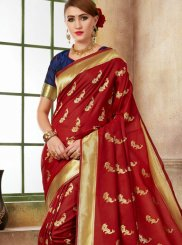 Weaving Red Designer Traditional Saree