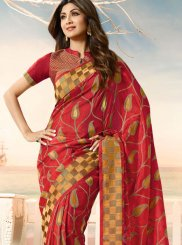 Weaving Red Shilpa Shetty Designer Traditional Saree