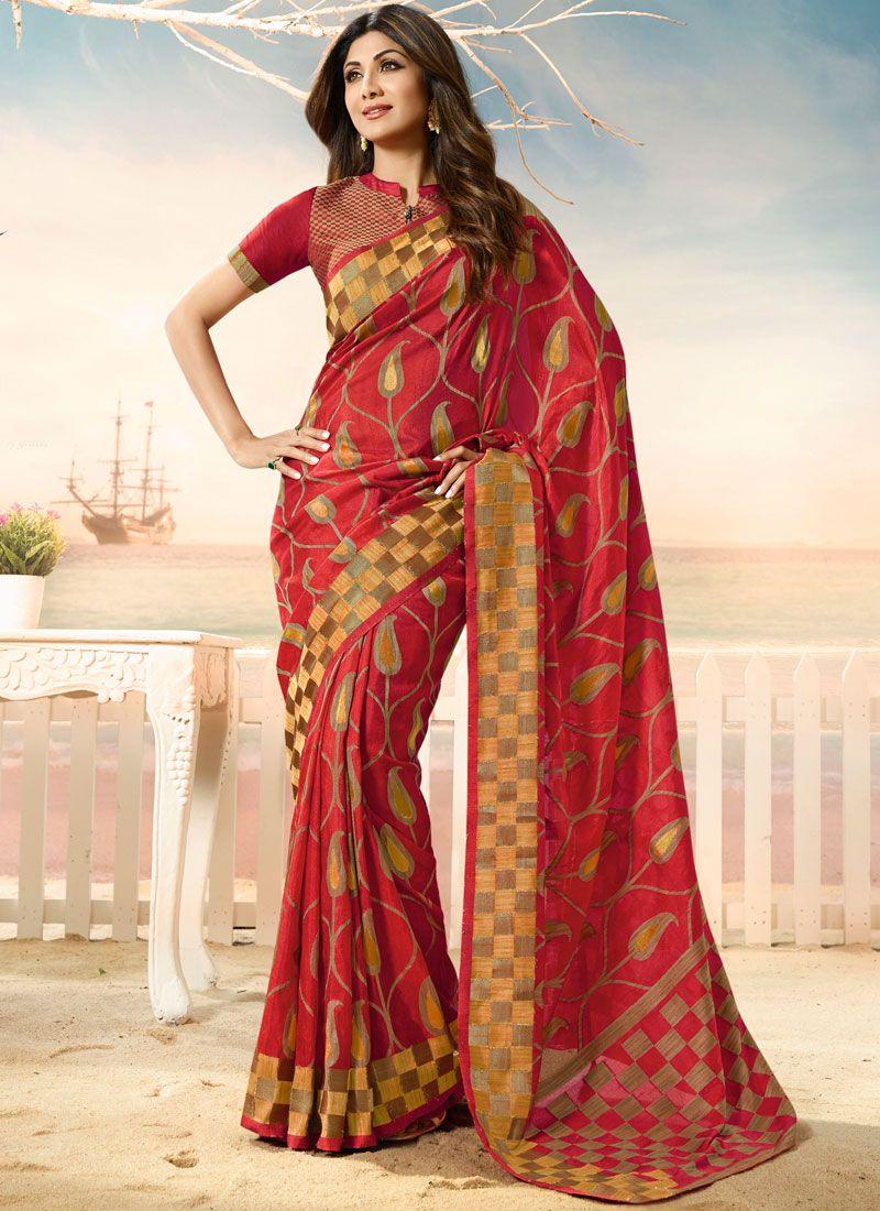Weaving Red Shilpa Shetty Designer Traditional Saree