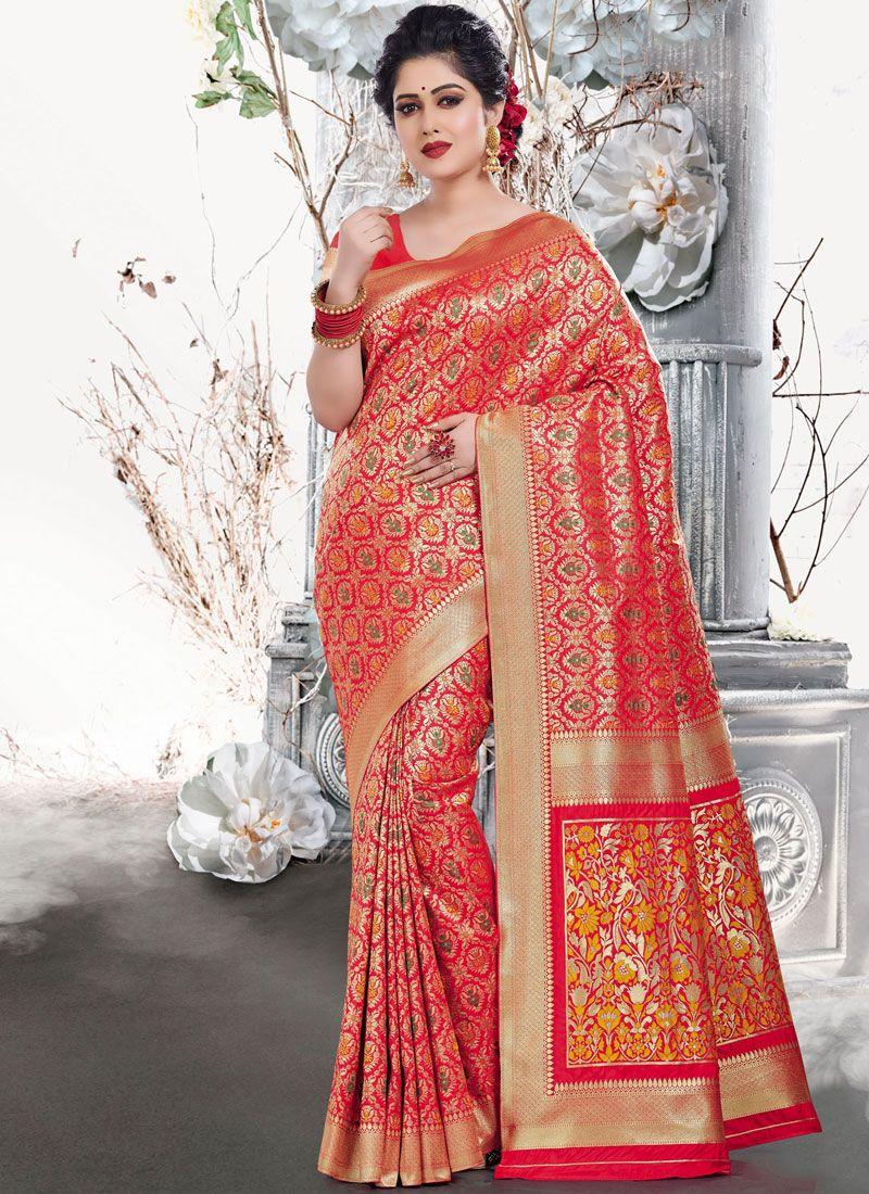 Weaving Red Traditional Designer Saree
