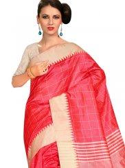 Weaving Rose Pink Traditional Saree