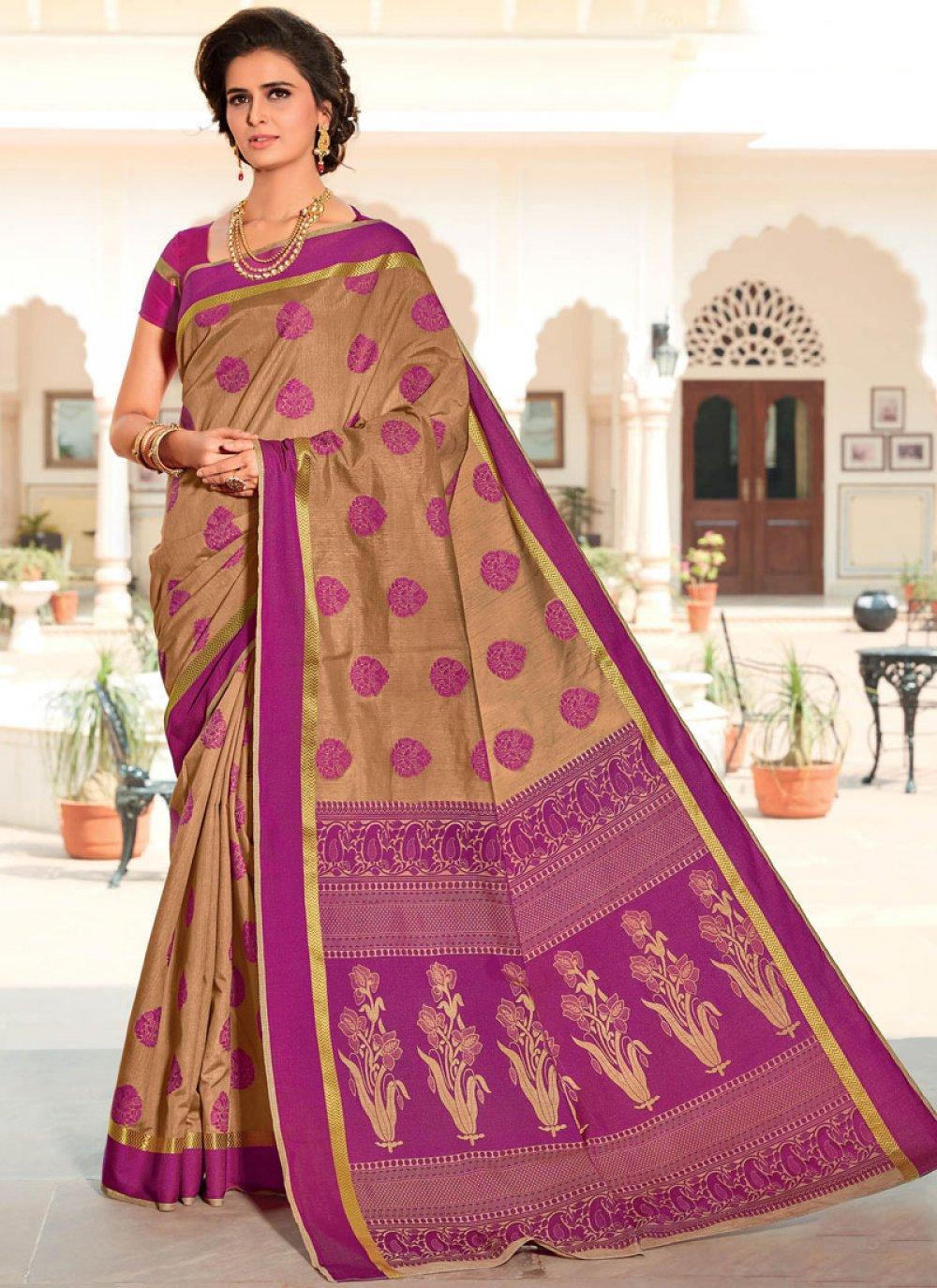 Weaving Satin Silk Beige Designer Traditional Saree