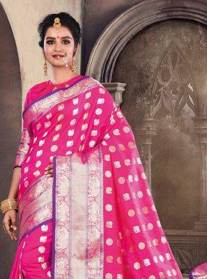 Weaving Satin Silk Hot Pink Traditional Designer Saree