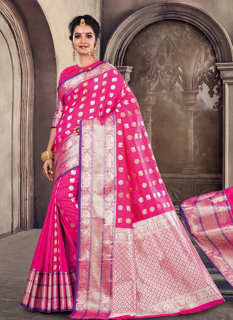 Weaving Satin Silk Hot Pink Traditional Designer Saree