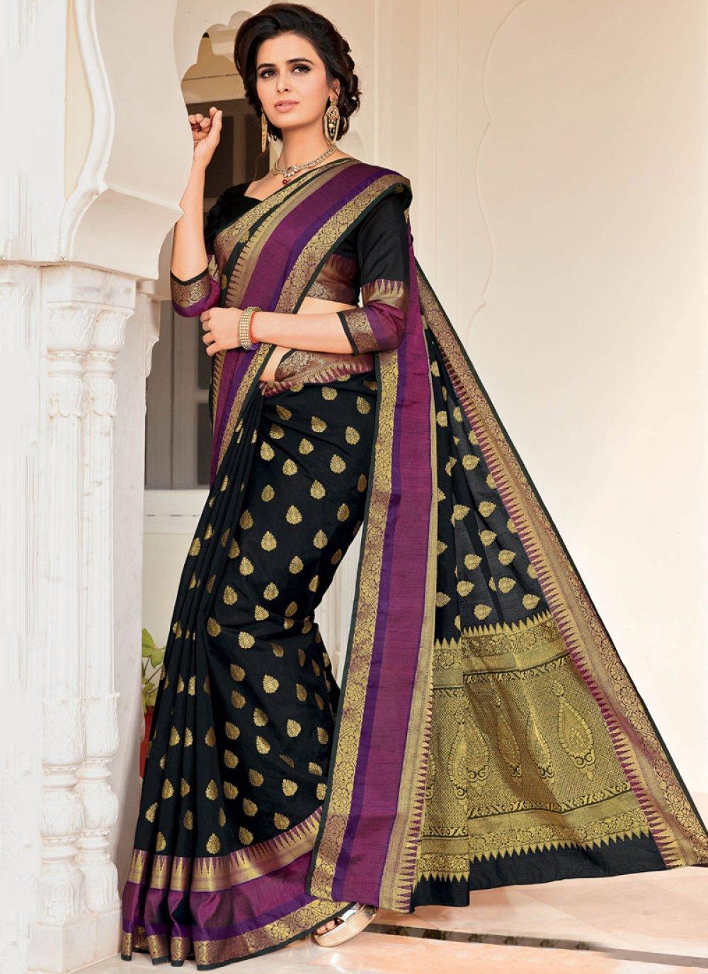 Weaving Satin Silk Traditional Designer Saree in Black