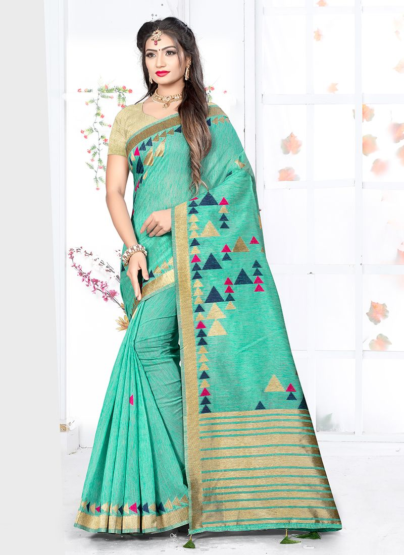 Weaving Sea Green Art Silk Traditional Designer Saree