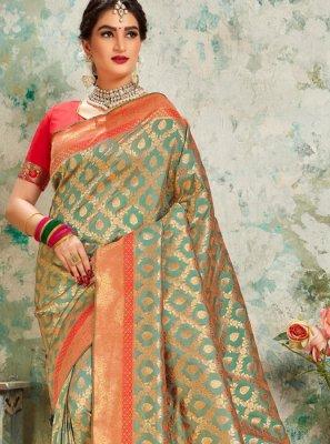 Weaving Sea Green Silk Designer Saree