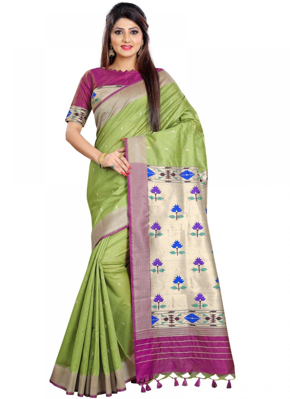 Weaving Sea Green Silk Traditional Designer Saree