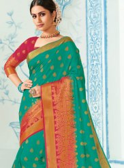 Weaving Sea Green Traditional Designer Saree
