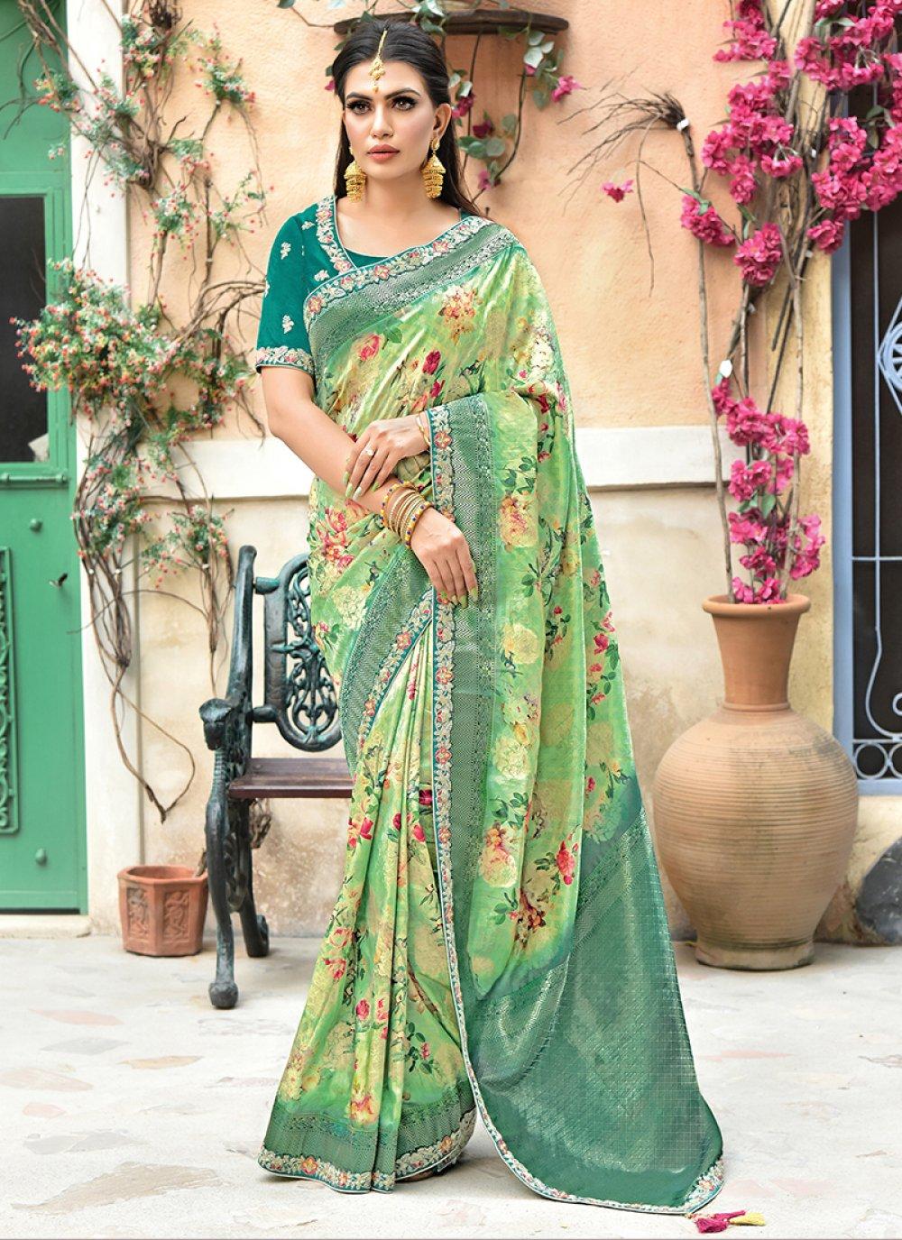 Weaving Sea Green Traditional Designer Saree