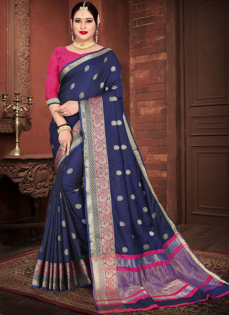 Weaving Silk Blue Casual Saree