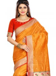 Weaving Silk Classic Saree in Orange