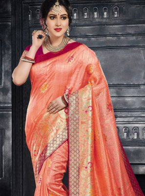 Weaving Silk Designer Saree in Peach