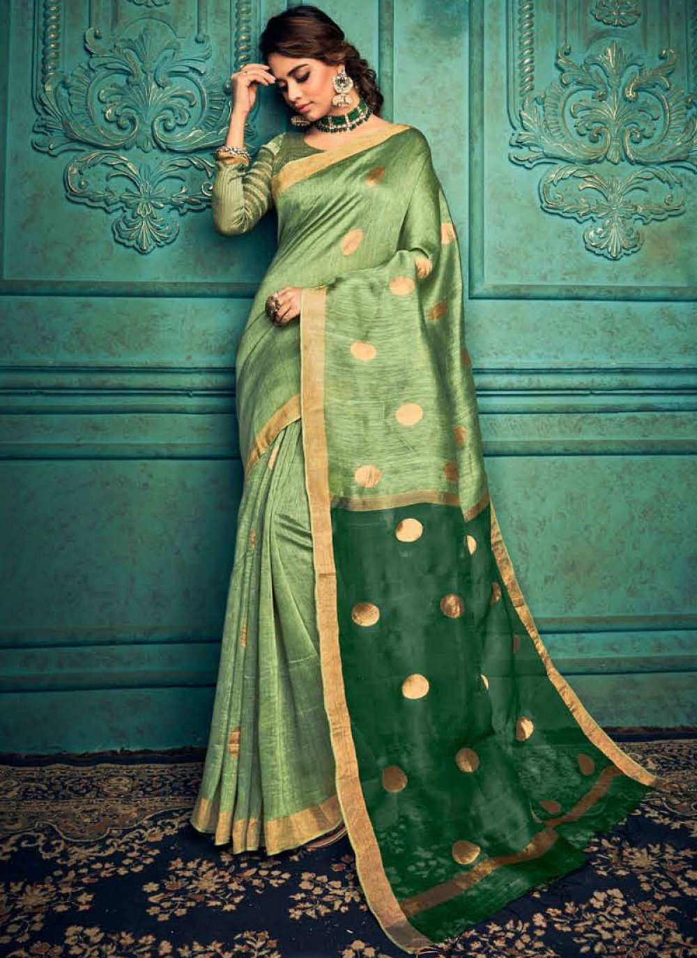 Weaving Silk Designer Traditional Saree in Green
