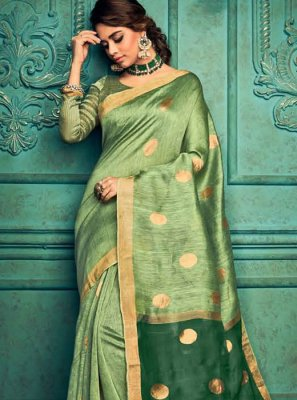 Weaving Silk Designer Traditional Saree in Green