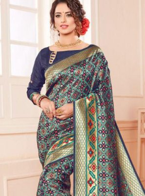 Weaving Silk Grey and Navy Blue Traditional Saree