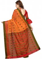 Weaving Silk Orange Casual Saree