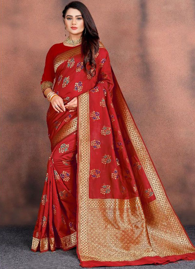 Weaving Silk Red Traditional Saree