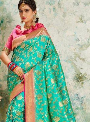 Weaving Turquoise Silk Saree