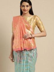 Weaving Turquoise Tussar Silk Traditional Saree