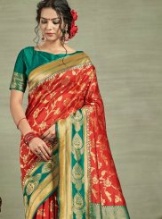 Weaving Tussar Silk Traditional Saree in Red