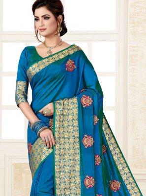 Weaving Uppada Silk Blue Classic Saree
