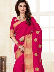 Weaving Uppada Silk Hot Pink Traditional Saree