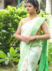 Weaving White Art Silk Designer Traditional Saree