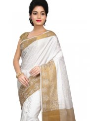Weaving White Art Silk Traditional Designer Saree