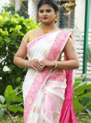 Weaving White Art Silk Traditional Saree