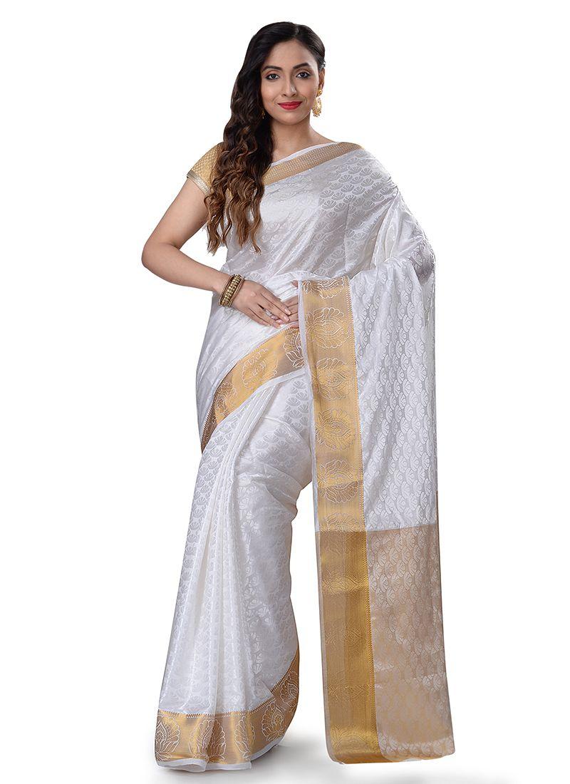 Weaving White Casual Saree
