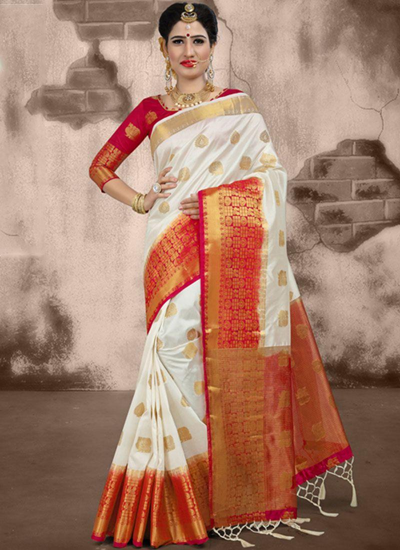 Weaving White Traditional Designer Saree