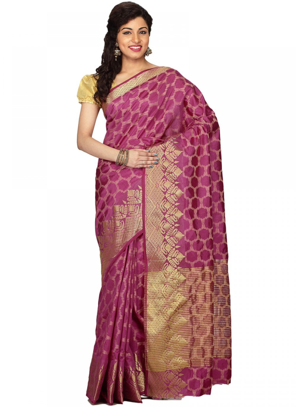 Weaving Wine Art Silk Traditional Designer Saree