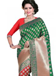Weaving Work Green and Red Art Silk Traditional  Saree