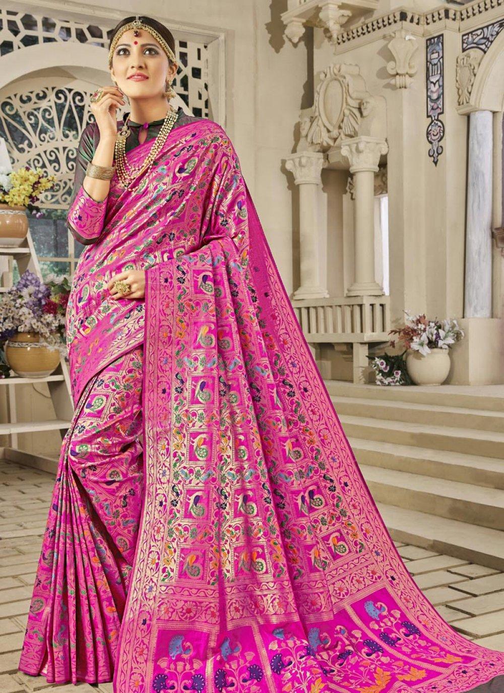 Weaving Work Pink Banarasi Silk Designer Traditional Saree