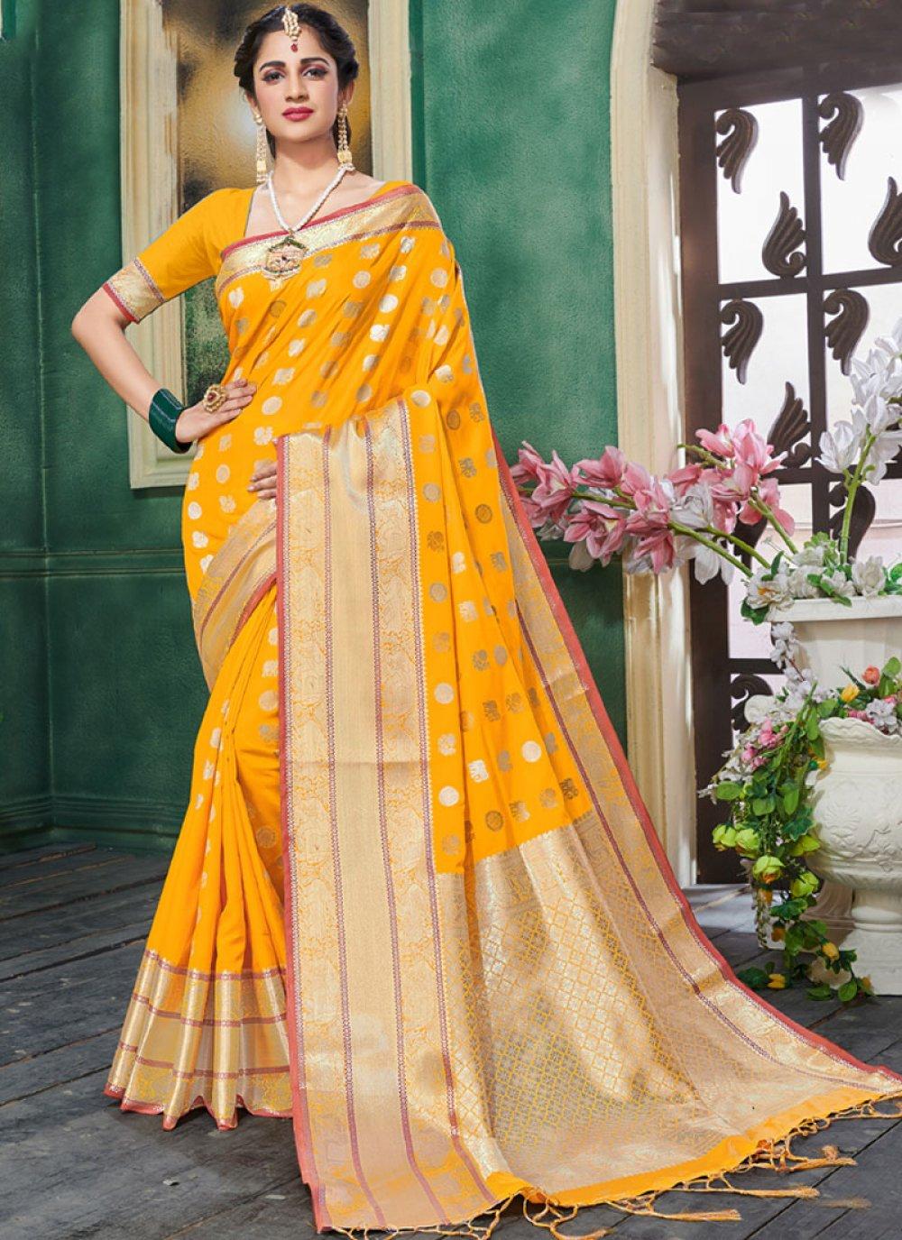Weaving Yellow Art Silk Designer Traditional Saree