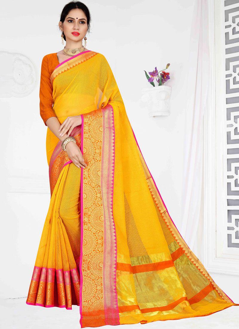 Weaving Yellow Cotton Casual Saree